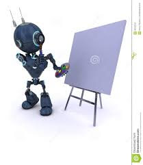 android with paint brush and palette stock photography image