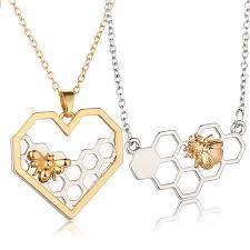 heart pendant choker necklace images Heart honeycomb bee pendant choker necklace foxy beauty jpg