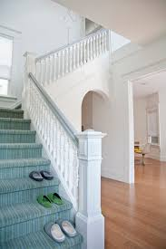 Banister Staircase Grey Banister Staircase Transitional With Striped Staircase