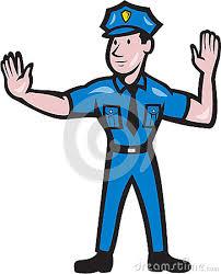 policeman stop hand signal cartoon