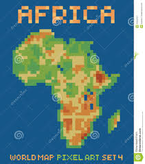 Physical Africa Map by Pixel Art Style Illustration Of Africa Physical Stock Vector