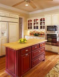 Red Kitchen With White Cabinets Kitchen Islands Different Color Than Cabinets Simplifying