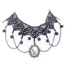 victorian necklace black images Yazilind lolita goth black lace choker velvet necklace victorian jpg