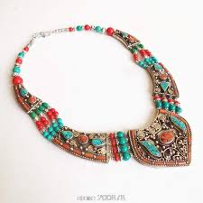 tibetan necklace images Tnl151 genuine tibetan jewelry nepal copper inlaid stone coral big jpg