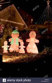 Outdoor Christmas Decoration by Gingerbread Family Outdoor Christmas Decoration Stock Photo