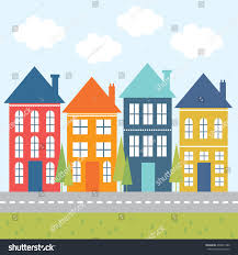 colorful cute houses perfect cute background stock vector