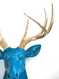 lite peacock blue faux taxidermy deer head wall mount wall hanging