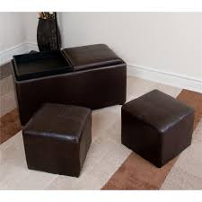 avalon 3 pc storage ottoman with 2 serving trays elegant brown