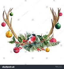 watercolor illustration deer antler tree glass stock illustration