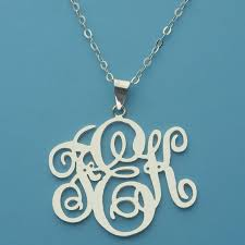 Monogram Pendant Necklace Monogram Kk Necklace 1 2 Inch Silver Monogram Pendant Jewelry