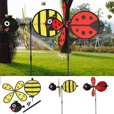 details about bumble bee ladybug windmill whirligig wind spinner