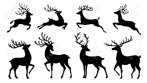 christmas reindeer christmas reindeer silhouettes on the white background royalty