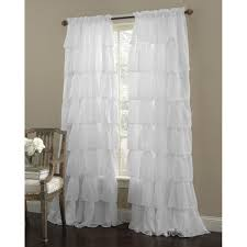 Window Curtains Amazon by Amazon Com Crushed Voile Sheer Shabby Chic Ruffle Panel Window
