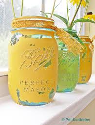 Mason Jar Vases Blue Mason Jar Vases Painted And Distressed