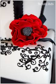 a modern black red u0026 white chic wedding cake at the casements