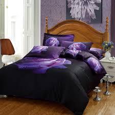 fs 788 4pc set 100 cotton 3d purple rose floral print bedding