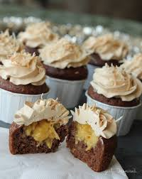 filled german chocolate cupcakes with caramel buttercream