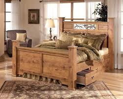 chandelier night stand l rustic western bedroom furniture natural grain textured logs canopy