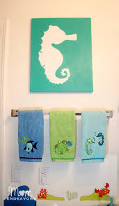 Beachy Bathroom Accessories by Diy Art Beachy Seahorse Canvas