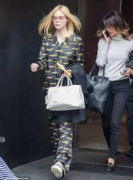 elle fanning steps out in pyjamas after met gala daily mail online