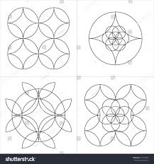 geometrical line ornaments set spiritual cosmic stock vector
