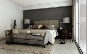 dark gray master bedroom ideas wooden flooring black iron bed