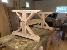 making a trestle table farmhouse trestle table diy kit made to order