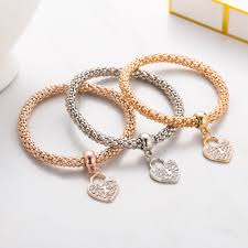 silver bracelet with heart pendant images Famshin 3pcs unisex bracelets fashion gold silver rose gold metal jpg