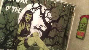 Zombie Pinup Shower Curtain by Spirit Halloween Dollar Tree 99c Only Haul Zombie Bathroom