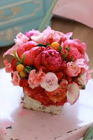 flowers by sachi rose arrangement includes coral peonies peach