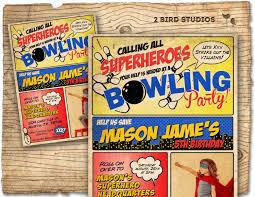 Superhero Invitation Card Superhero Bowling Party Invitation Bowling Birthday And