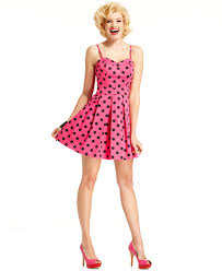 marilyn monroe juniors dress sleeveless polkadot print a line