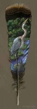 turkey feather painting gorgeous animal portraits painted on turkey feathers
