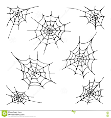 halloween white background set of seven spider web silhouette on the white background hand