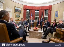 Obama Oval Office Decor President Barack Obama Convenes A Meeting In The Oval Office To