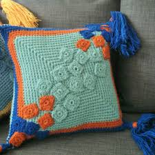knit home decor navy blue orange knitted throw pillow with tassels christmas gift