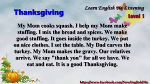 have a good thanksgiving learn english via listening level 1 unit 17 thanksgiving youtube