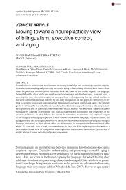 moving toward a neuroplasticity view of bilingualism executive