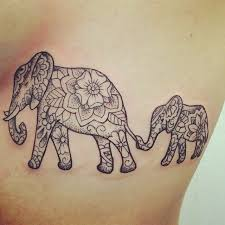 floral elepahnt with baby elephant on side rib