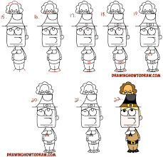how to draw a cute turkey step by step