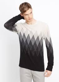 vince wool linen jaspé argyle crew neck sweater in white for men