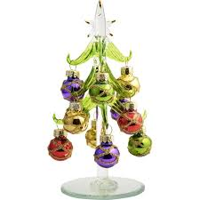 6 glass green tree with multi colored ornaments the