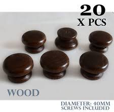 Wooden Cabinet Knobs 20 X Wooden Cabinet Knobs Dark Brown Kitchen Door Handles Cupboard