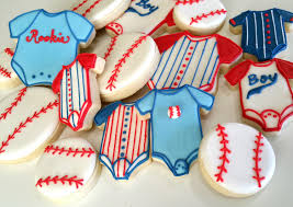 base ball baby showersport theme baby shower cookies sugar
