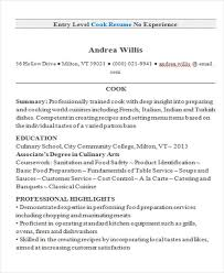 10 cook resumes free samples examples format download free