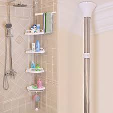 Telescopic Bathroom Shelves 4 Tier Adjustable Telescopic Bathroom Corner Shower Shelf Rack