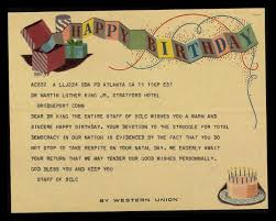 telegram from the sclc staff wishing a happy birthday to mlk the