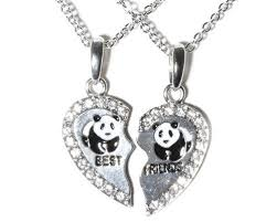 best friend heart necklace images New best friend panda heart silver tone 2 pendants necklace bff jpg