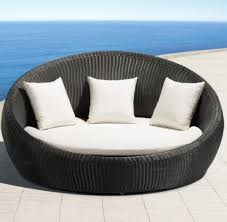 wicker daybed outdoor furniture with white cushion nytexas