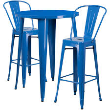 bar stool table set of 2 30 round blue metal indoor outdoor bar table set with 2 cafe stools